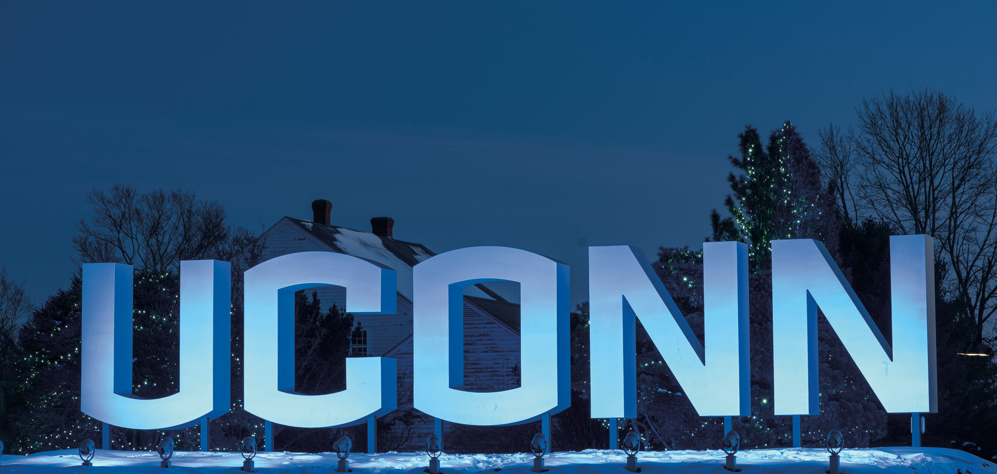 UConn Gateway sign lighted blue